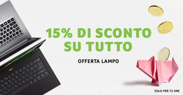 Acer, sconto speciale del 15%